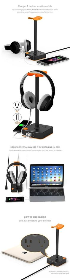 Other Portable Audio: Headphone Stand Headset Holder W Usb Charger Station And 2 Ac Outlets Power Strip -> BUY IT NOW ONLY: $46.94 on eBay!