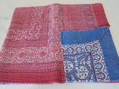 Ajrakh Print Indian Kantha Quilt Throw Bedspread, Reversible kantha, Kantha Beds #Handmade #Asian