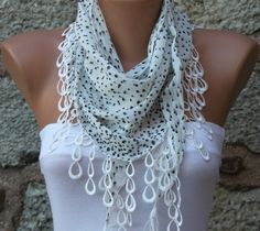 Polka Dot Scarf    Shawl  Cowl with  Lace Edge White  by fatwoman,
