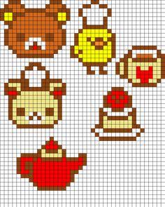 Rilakkuma Set Perler Bead Pattern | Bead Sprites | Characters Fuse Bead Patterns