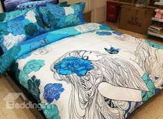 Beautiful Girl and Butterfly Print 4-Piece Cotton Duvet Cover Sets #bedding #bedroom #girls