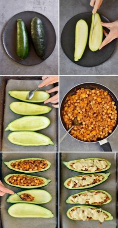 Stuffed zucchini with bell pepper, chickpeas and vegan cheese! This is a simple vegetarian dinner, side dish, or appetizer that […] Vegetarian Zucchini Boats, Vegan Zucchini Recipes, Easy Vegetarian Dinner, Healthy Dinner Recipes, Stuffed Zucchini Recipes, Stuffed Zucchini Boats, Simple Vegetarian Recipes, Healthy Zucchini, Vegan Cheese