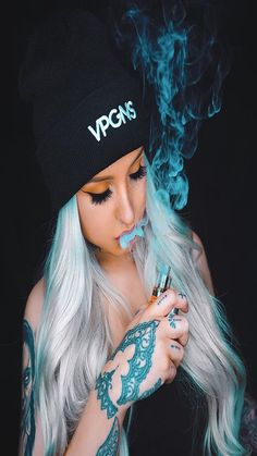 Girls that Vape 😍 Send us in your pics to be featured 📸 Tag us and use our hashtag DM US FOR PROMOS 📥 Smoke Photography, Girl Photography Poses, Hot Tattoo Girls, Girl Tattoos, Tatoos, Cool Girl Images, Girl Iphone Wallpaper, Smoke Wallpaper, Galaxy Wallpaper
