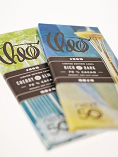 Theo chocolate packaging design- 50th anniversary of the World's Fair celebrated with illustrations of the Space Needle and Pacific Science Center in Seattle
