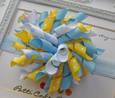 Korker Hair Bow  Sweet Bluebell Blossoms Hair by PattiCakeBowtique, $6.00