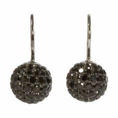 Shamballa Jewels Black Pave Diamond & Rhodium Ball Drop Earrings