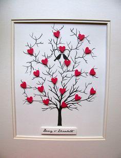 MINI VLINDERS meet ongeveer 1/2 inch ~ zij hebben geen ruimte voor woorden of tekst ~ ze zijn bedoeld als decoratieve... niet een gastenboek.  MONSTERS blijkt slechts een paar harten [ROSE RED of NAVY + zachte grijs] om u * ideeën * ~ jou kunnen een boom zo vol mogelijk met mini hart--elke boom is op maat gemaakt volgens uw unieke voorkeuren!!  Deze 3D boom van hart zou een bijzonder geschenk voor de pasgetrouwden of wie velen verheugd jaren samen vieren.  PERSONALISATIE voor een naam of...