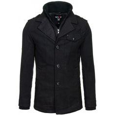 Černý pánský kabát na zip s knoflíkama - manozo.cz Leather Jacket, Zip, Jackets, Fashion, Studded Leather Jacket, Down Jackets, Moda, Leather Jackets, Fashion Styles