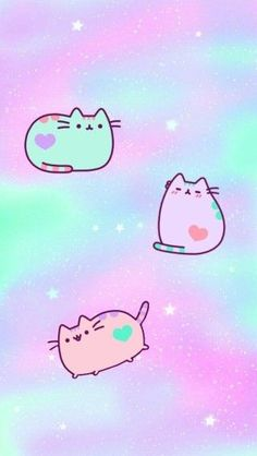 Cat Wallpaper, Kawaii Wallpaper, Cute Wallpaper Backgrounds, Galaxy Wallpaper, Iphone Wallpaper, Penguin Drawing, Cat Drawing, Chat Kawaii, Unicorn Cat