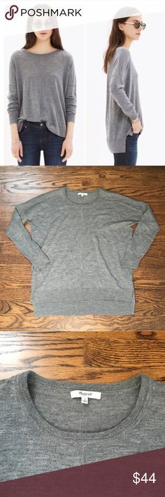 Madewell Rowhouse Sweater Madewell Rowhouse Sweater in grey.  Made of 100% Merino wool.  In excellent, like new condition.  No signs of wear.  Measures 22 inches pit to pit and 26 inches long.  Comes from a smoke free home! Madewell Sweaters