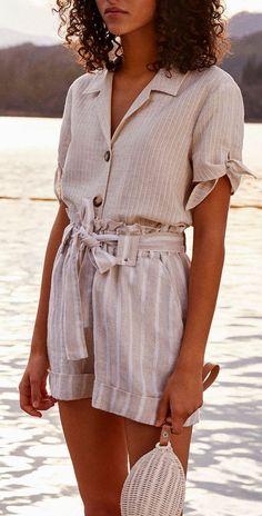 Paper bag shorts + linen top