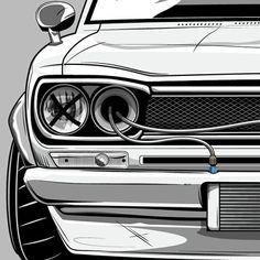 dirtynailsbloodyknuckles:Dat manga #wip doe.www.dirtynailsbloodyknuckles.com Link in profile  #nissan #hakosuka #skyline #gtr #nismo #godzilla #kpgc10 #kpgc110 #datsun #kenmeri #jdm #carart #illustration #illustrator #manga #illest #fatlace #speedhunters #iamthespeedhunter