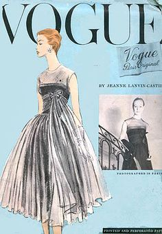 Vogue 1338 Paris Original pattern.  Home Sewing connection: The House of Lanvin created patterns under the Vogue's Paris Originals series.