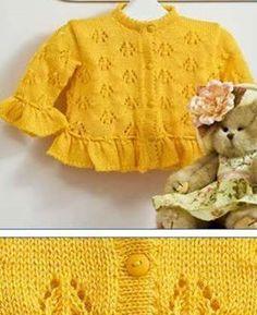 Sarı ajurlu örgü kız çocuk hırka - Derya Baykal - Örgü Dantel Modelleri Örnekleri