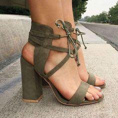 Suede Cross Strap Chunky Heel Sandals