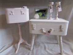 Suitcase table, makeup/overnight bag accent table
