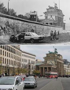 Gegen die Mauer: ein demoliertes Auto an der Berliner Mauer vor dem Brandenburger Tor am 18.09.1987 und den gleichen Bildausschnitt am 15.10.2014 in Berlin.