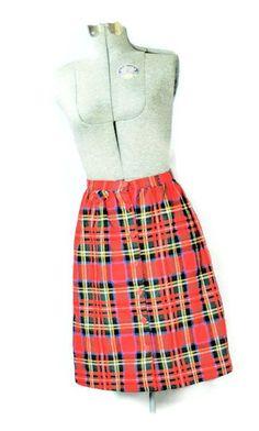 Vntage 1970s J. Estes Mini Rocker Red Wool Plaid Skirt #plaidskirt #vintagestyle #vintage1970s #plaidskirt