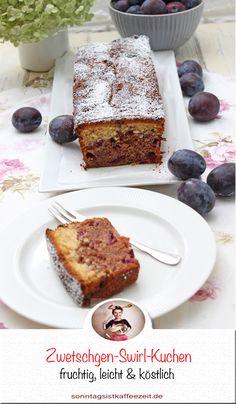 Der Zwetschgen-Swirl-Kuchen ist wunderbar saftig und fruchtig, dies liegt unter anderen darin, das in dem Kuchen eine Schicht Zwetschgenpüree hineinkommt. Dieser köstliche Kuchen besteht übrigens aus einem einfachen Rührteig, der mit Kakao in zwei Teile geteilt wird. Quasi ein Marmorkuchen mit Zwetschgen. #zwetschgenkuchen #zwetschgenkuchenrezept #zwetschgen #einfach #rührteig #backen #kastenform #schnell #lecker#saftig Sweet Bakery, Kakao, Fabulous Foods, Easy Peasy, Delish, French Toast, Good Food, Favorite Recipes, Sweets