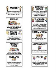 genre cards/bookmarks