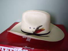 0cbc478b9179e Vintage Cowboy Hat    Shantung    Stetson Straw Cowboy Hat