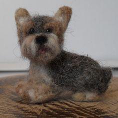 Wool felted Yorkshire Terrier dog sculpture by JuliePavittRobinson on Etsy