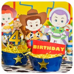 Toy Story birthday party centerpieces! See more party planning ideas at CatchMyParty.com!