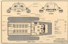 Powell Class Long-Range Warpshuttle - Bow & Stern Views and Deck Plan