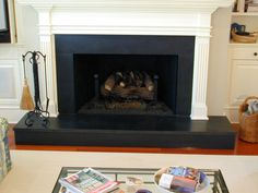 honed black granite fireplace tile | Granite Fireplace Gallery | Greenville, SC and Augusta, GA