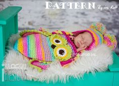CROCHET PATTERN Ava the Owl Baby Hat, Sleeping Bag and Headband, Crochet PDF Pattern