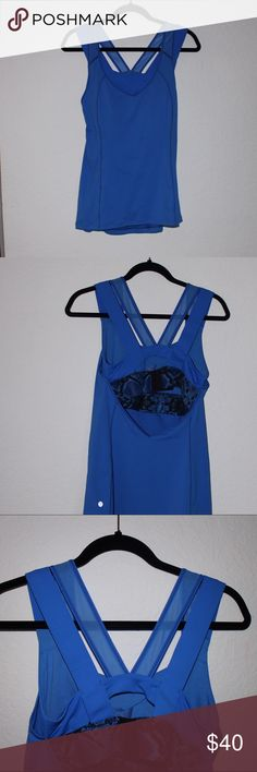 "Lululemon Double Strap Blue Combo Top Sz 8 Rare, like-new Lululemon double strap top. Has sports bra built into the tank top. Sz 8. Measurements taken on top laying flat: 26"" in length, 14"" bust, & waist is 20"" wide. All reasonable offers considered. Bundle to save even more! lululemon athletica Tops Tank Tops"