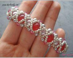 Beaded Bracelet Pattern White Opal Clay Flower Bracelet
