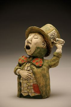 The Mad Hatter - Ceramic - Sara E. Morales  #ceramic #aliceinwonderland #themadhatter #teaparty #sculpture