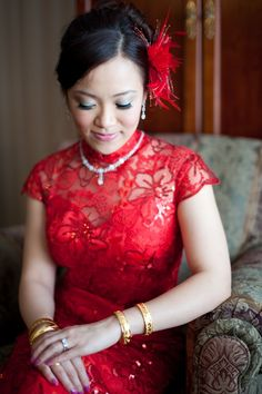 My Chinese red wedding dress Red Chinese Dress, Chinese Dresses, Classic Wedding Gowns, Asian Bride, Wedding Dress Shopping, Colored Wedding Dresses, Wedding Bride, Lace Wedding, Wedding Ideas