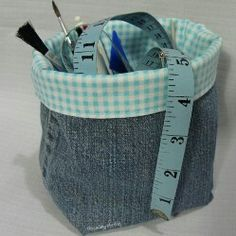 Great use for the legs of your new cut off jeans! Very cute catch all!