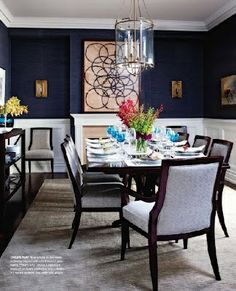 Navy walls, white wainscoting, art, pendant