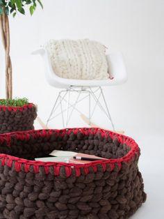 large knots   wool   basket