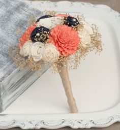 Ready to Ship - Small Custom Coral & Navy Rustic Heirloom Bouquet - Ivory Sola Wood, Mixed Wildflowers, Burlap Bouquet - Small Bouquet