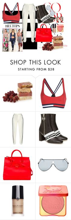 """""""Top 10 Trends: Bra Tops"""" by lupeobera ❤ liked on Polyvore featuring Tommy Hilfiger, Elie Saab, GCDS, Versace, Fendi, Giorgio Armani, Too Faced Cosmetics and Nak Armstrong"""