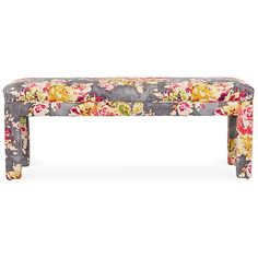 Kim Salmela Brittany Bench Gray/Pink Entryway Bench ($595) ❤ liked on Polyvore featuring home, furniture, benches, grey furniture, floral furniture, handcrafted furniture, pink furniture and gray bench