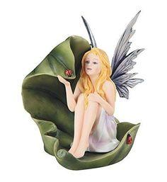 "7"" Winged Fairy Sitting on Leaf with Ladybug Mystical Fantasy Statue Figurine"