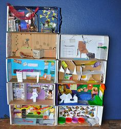 Building an apartment block play house out of shoe boxes with the kids - lovely idea!