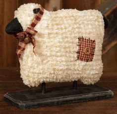 Charming country sheep on a wood base is a perfect Primitive addition. This Country Primitive accent would look wonderful in your home on a shelf, cupboard or table. Soft Chenille, Wood Base, and Home Country Primitive, Primitive Sheep, Primitive Homes, Primitive Folk Art, Primitive Crafts, Primitive Christmas, Christmas Crafts, Country Farmhouse, Country Homes