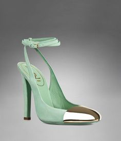 0a47507793 YSL Ingenue Ankle Strap in Pale Green Suede and Brass, #lifeinstyle  #greenwithenvy Shoes