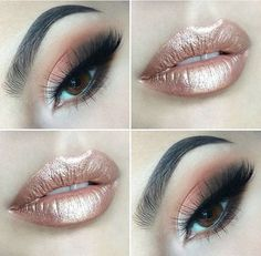 Pretty rose gold lips gloss and lipstick perfect for any beauty or makeup look from www.glowcultcosmetics.com