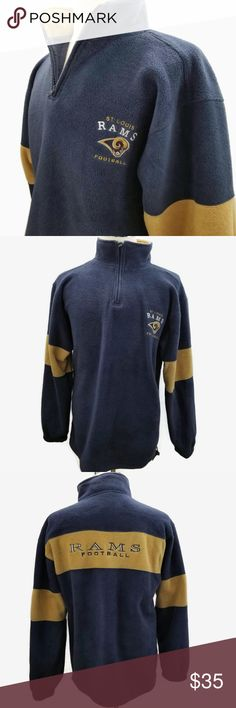 0a171a079 St Louis RAMS Fleece 1 4 Zip Fleece Sweatshirt NFL Rams Sweatshirt Mens Size  L