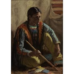 Artwork by Joseph Henry Sharp, HUNTING SON, Made of oil on canvas kp
