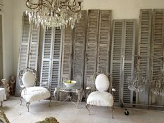 FRENCH SHUTTERS & FRENCH IRON CHAIRS...need to find these for my next house