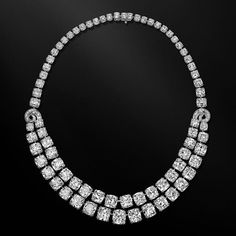 Ronald Abram Spectacular 132.20 carat Cushion Cut Diamond Necklace.