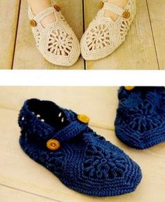 Crochet adult slippers tutorial.  Google Translator addon helps with this site.